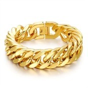 M5 gold plated steel bracelet 21.5cm