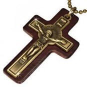 Leather with cross.