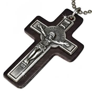 Cross with leather.