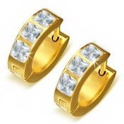 Goldplated earring with CZ stone (1 pc.)