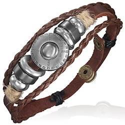 Brown leather bracelet with beads