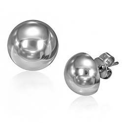 Stud Earring in half-round stainless steel.