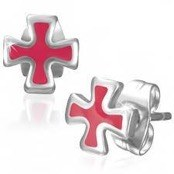 Stud earring in Maltese cross design