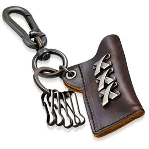 Key ring in leather.