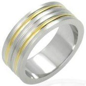 "Men's ring in steel (316L) ""Gold plated"""