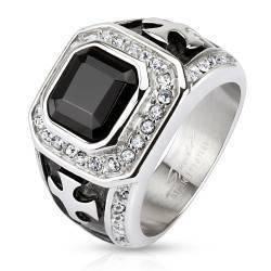 Ring for men with big black CZ stone