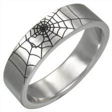 "Men's ring in steel ""Spider web"""
