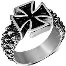 Maltese cross ring in stainless steel.