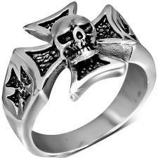 Skull and maltese ring.