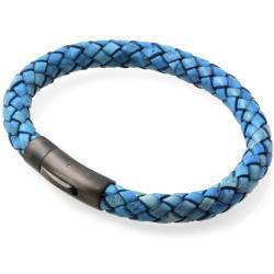 """Blue Strato"" Leather bracelet."