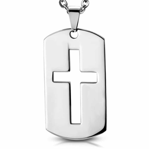 Necklace in Stainless steel with cross.