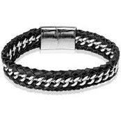 Steel & Leather Bracelet 21cm