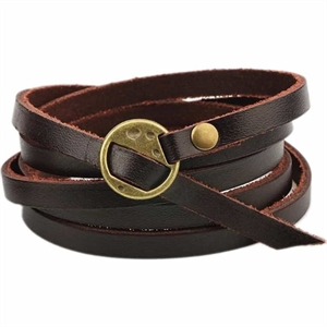 T6 Skull - leather bracelet brown.