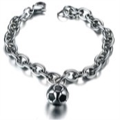 Football bracelet in steel.
