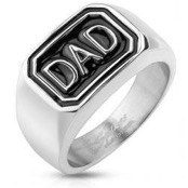Ring in stainless steel with text DAD