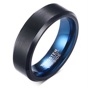 Black / Blue tungstenring