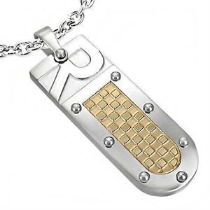 Men's pendant necklace in steel in Goldplated