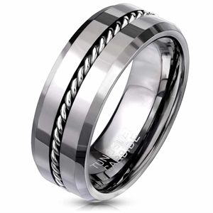 K4 Tungsten ring with chain