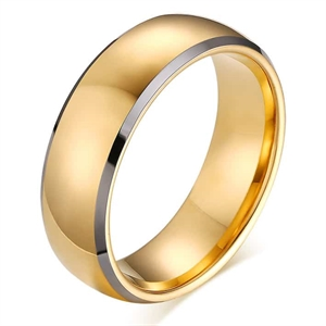 "Tungsten ring for men ""Gold Crown"""