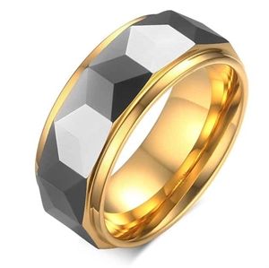 Tungsten ring with sparkle.