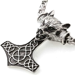 thors hammer wolf necklace men
